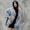 CX-B-P-07 Cashmere Shawl With Rabbit Fur Tassels