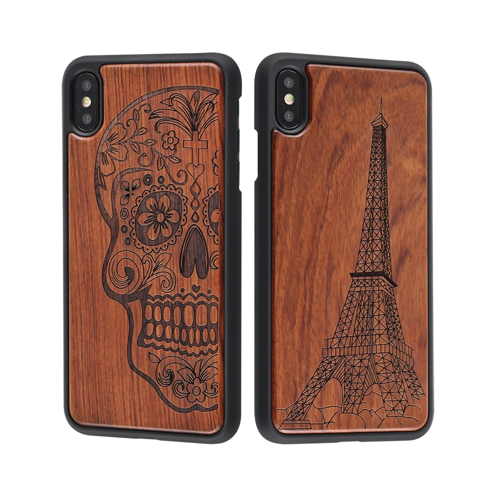 2019 Hot Products Custom Logo Laser Engraving Wood+PC Cell Phone Case For iPhone XS <strong>Max</strong>