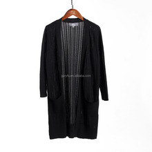 OEM service ladies open front black hollow out long cardigan with 2 pockets