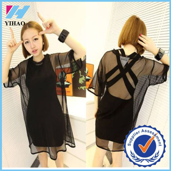 Oversize Cover Tops Blouse Black See Through Mesh perspective Short Sleeve Cool Shirt