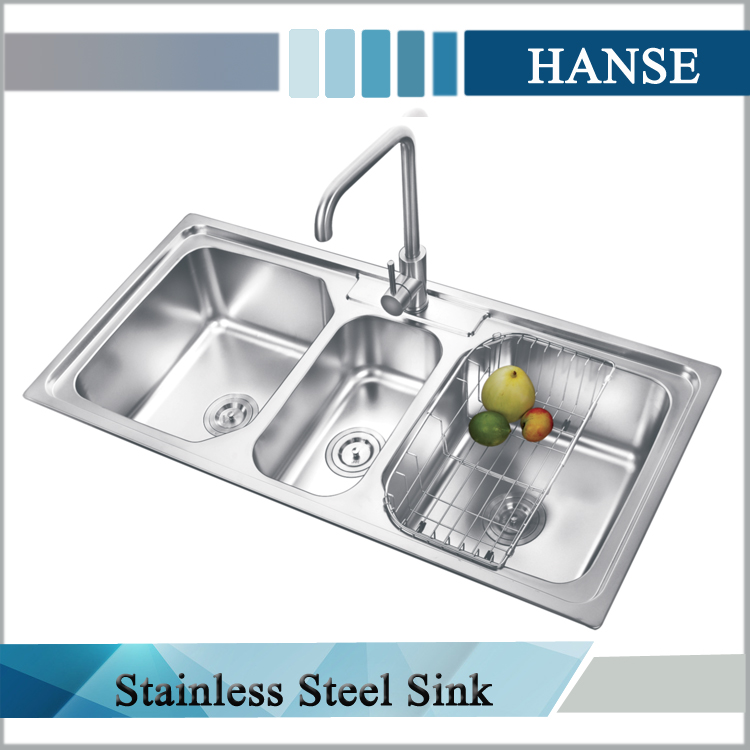 K E10850tb Stainless Steel Triple Sink 3 Compartment Kitchen Sink 3 Bowl Sink