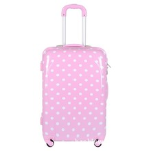 Cute Pink Color Hard Shell ABS Polka Dot Girls Travel Luggage
