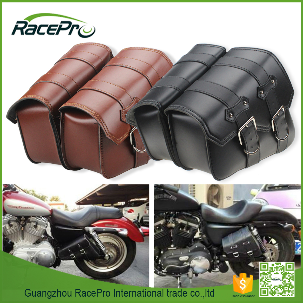 Motorcycle PU Leather Side Saddle Bag for Harley Sportster XL883 XL1200