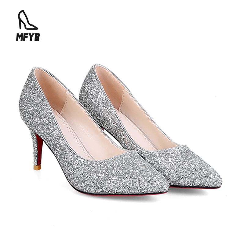 Personalized silver sequins shallow mouth latest desgin handmade sexy gradient high evening shoe women <strong>heels</strong>