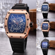 Mens Watches Top Brand Luxury Unique Design Quartz Watches Silicone Skull Analog Hollow Wristwatch Male Clock Relogio Masculino