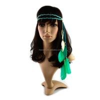 New Arrival Bohemia multi colour metal leaf feather suede braided headband/hair wrap/hair band