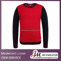 European Style Sweaters For Men Round Neck Black & Red Spliced Pullover