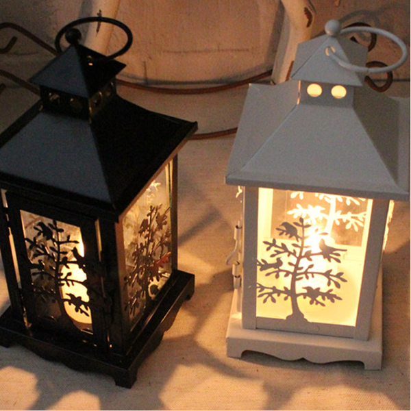 Small Vintage White Metal Bird Cage Candle Holder Lantern Wedding Home Decor