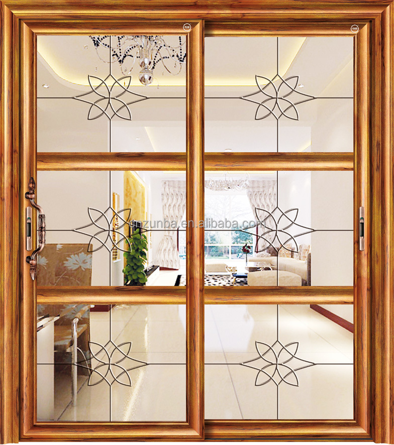Home Decoration Well Design Glass Panel Aluminum Alloy Hanging Sliding Door