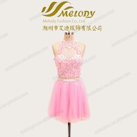 Peach embroidery prom dress short-length tulle sexy girl party dress hot sale