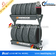 Garage using tire rack storage system