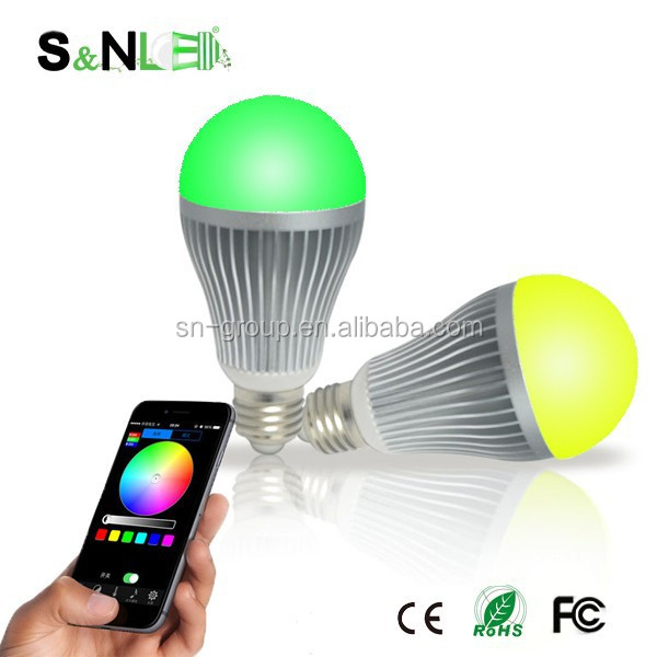 New Products wifi control dimmable e27 led bulb rgb,9w change color led bulb with ce rohs