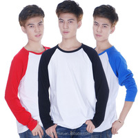 Men's Cotton White T-Shirt-Men Raglan Long Sleeved Plain Baseball T Shirt Tops Casual-Shirt