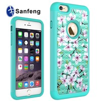 2-in-1 Hybrid Plastic and Silicone Mobile Phone Case For iPhone6 6S 4.7inch Diamond PC Cases