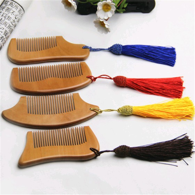 Bulk Wholesale Wire Fashion Pendant Hair Massage Peach Wood Comb Custom Private Label Hairbrush Combs