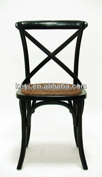 Rustic Wooden Cross Back Black colour Bistro Chair/Wedding Chair(CH-532)