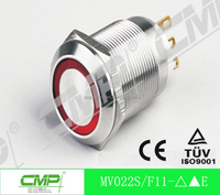 CMP 22mm metal colored button LED head illuminated push button switch IP67