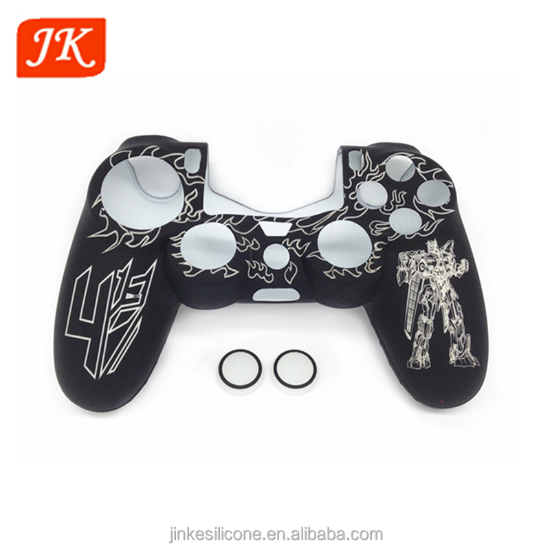 customized silicone case for ps4 game controller with thumb stick cap skin case