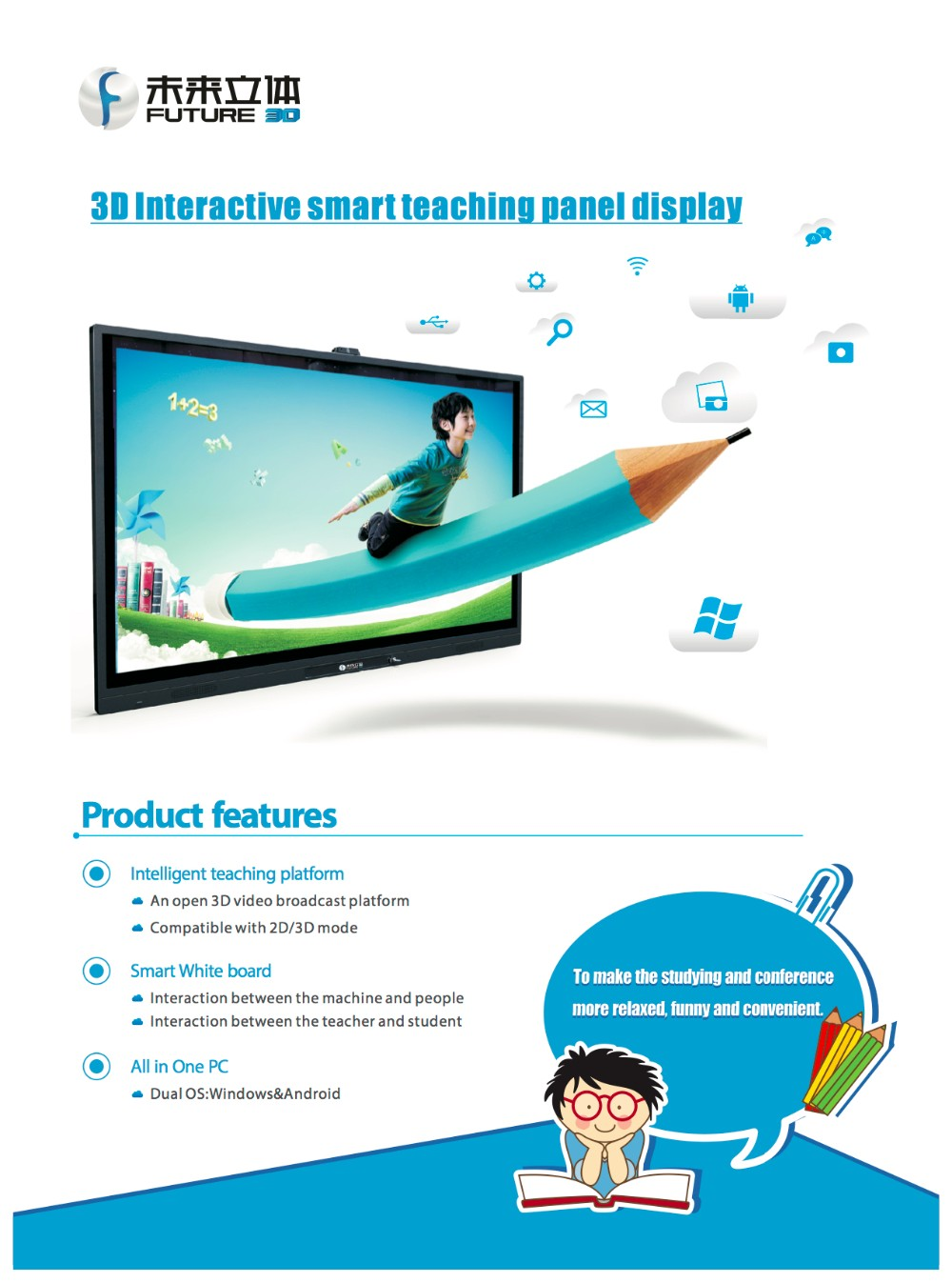 All in One Interactive 3D multi-touch screen smart whiteboard