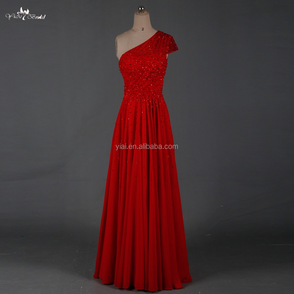 RSE667 One Hand Bead Embroidered Chiffon Wine Red Evening Dresses