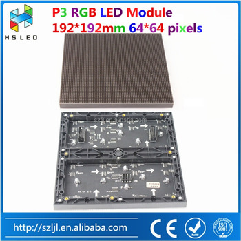 64x64 dots SMD2121 1/16 scan Hub75 P3 RGB led display module led panel indoor