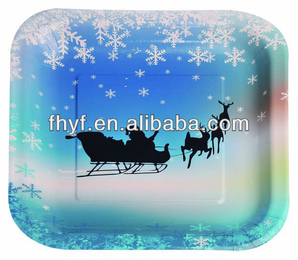 "8"" Xmas design square raw material paper plate"