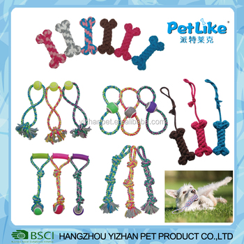 Durable twisted rope dog bite practice toy with tennis ball pet dog rope toy