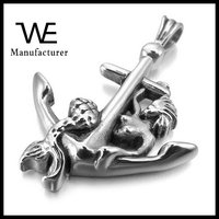 Silver Cross Anchor Nautical Mermaid Vintage Jewelry Necklace Pendant Man