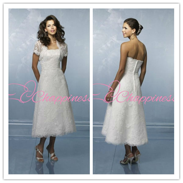 new attival 2015 Tea Length lace appliques wedding dresses with jacket