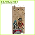New design wooden decoration wall plaque with hooks