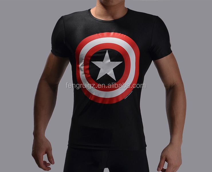 china sports clothing manufacturer superhero avengers t shirt men compression dry fit bodybuilding sportswear