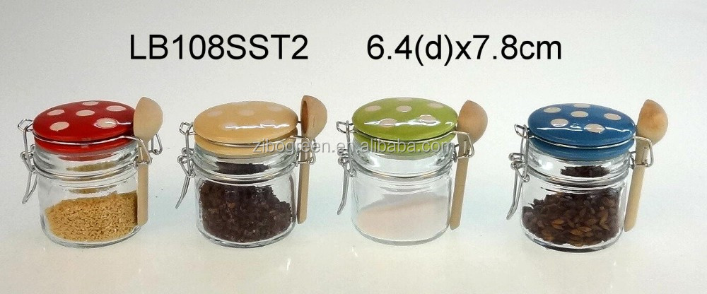 lb108sst2 glass spice jar with clip lid and wooden spoon buy glass storage jarglass storage jar with metal lidglass storage jar for spice product on - Glass Spice Jars
