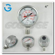 High quality all stainless steel bourdon tube adjustable point pressure gauge