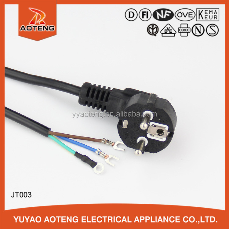 European three core H05VV-F 3G 0.75mm2 black VDE upright 90 degree plug power cable