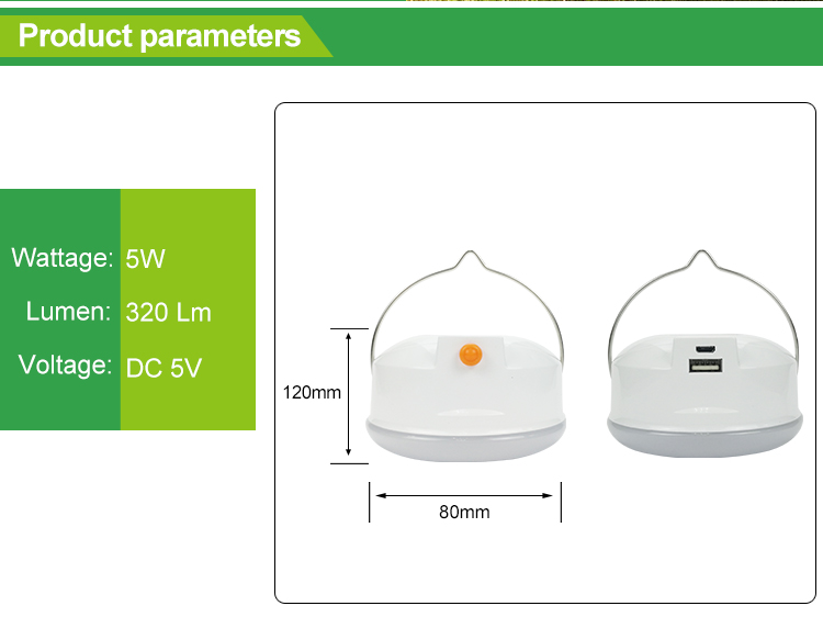 High performance rechargeable 5W USB led camping tent light lamp