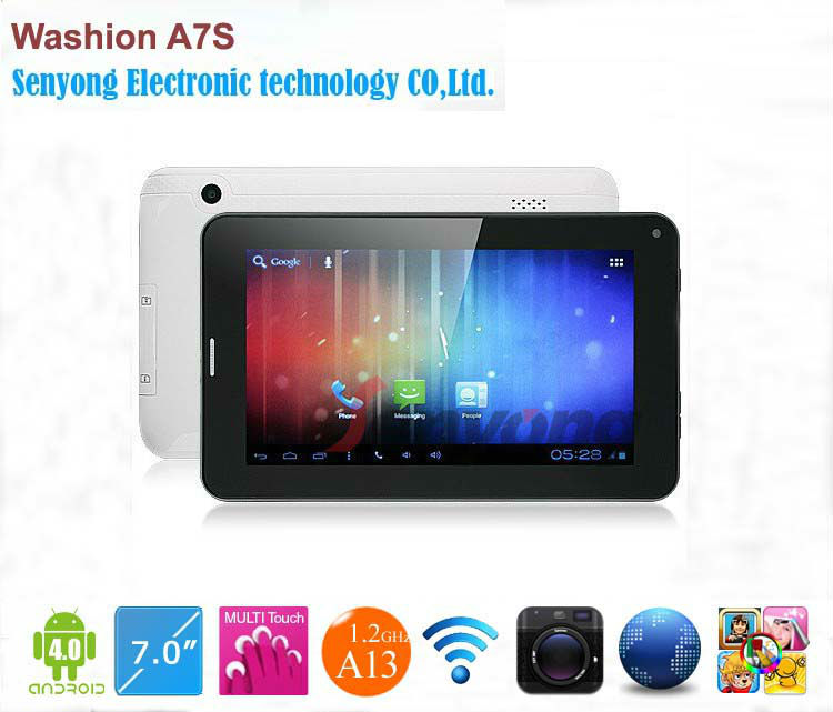 7'' Capacitive Washion A7S GSM Multi Touch Screen Allwinner A13 <strong>1</strong>.2GHz 512MB RAM 4GB GSM Phone Call Tablet with SIM Card slot