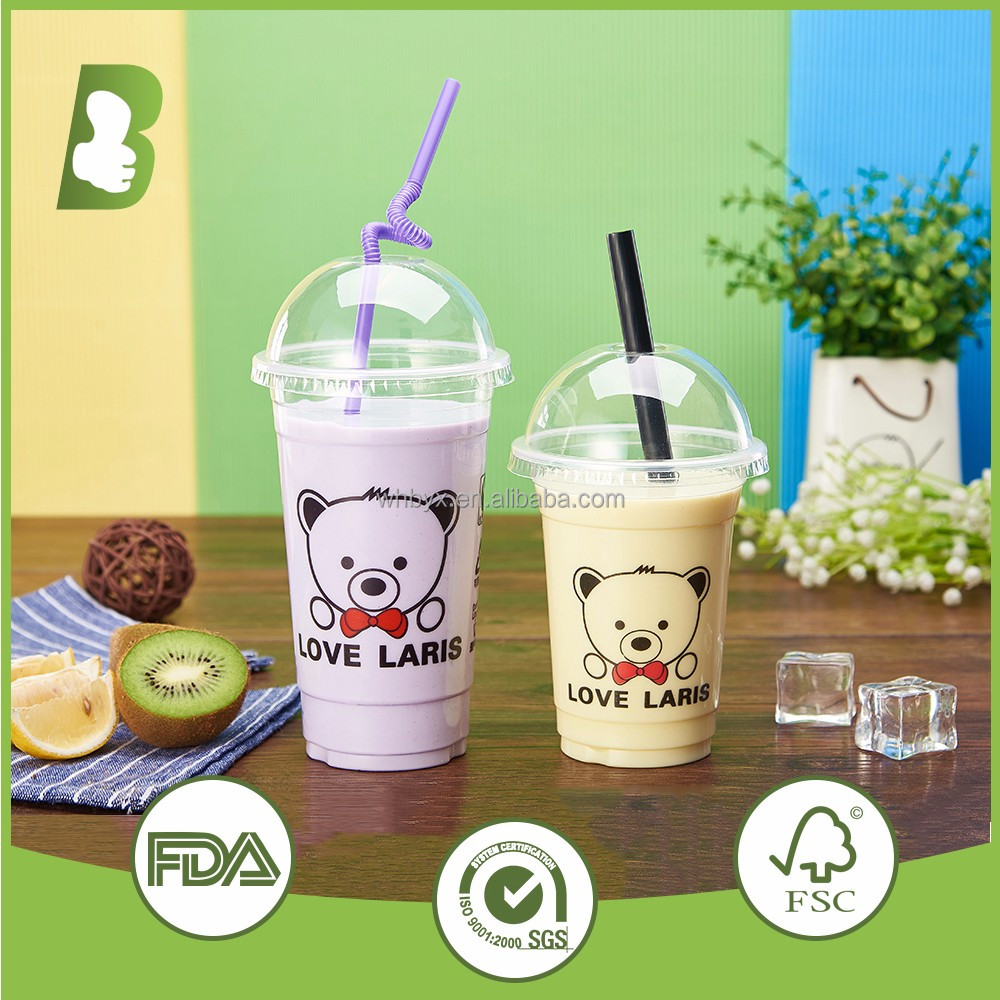 cheap price 20oz 22oz wholesale disposable multicolor Bear plastic cup