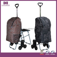 Telescopic Single Handle Trolley Shopping Bag With Chair
