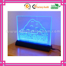 popular blue light custom led acrylic sign with base manufacturer