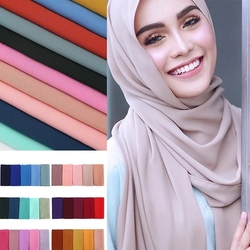 High quality heavy bubble chiffon scarf new design summer plain muslim hijab big bubble thick shawls solid scarves