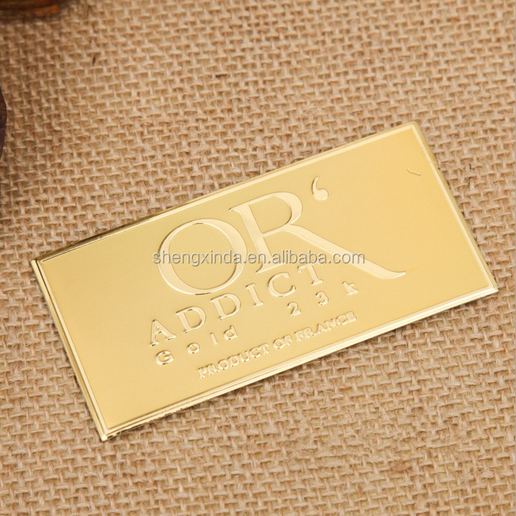 Customized aluminum sign logo bag label metal logo plate 3M adhesive badge shiny handbag