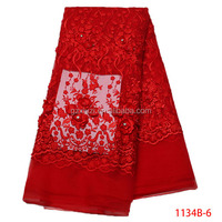Christmas 3d Flower Beaded Embroidery Lace Fabric Women Dress XZ1134