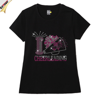 Cheerleading Short Woman Chinese Rhinestone T-Shirt