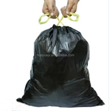 China manufacture wholesale garbage bags with ribbon tie string / drawstring trash bags black