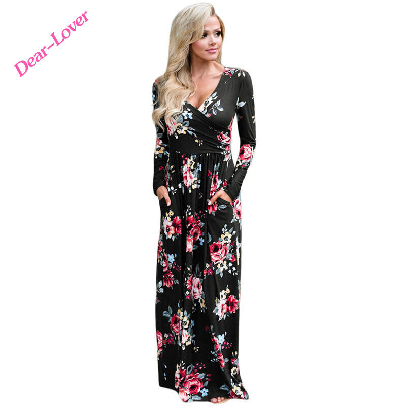 Woman Floral Print Surplice Long Sleeve Maxi Boho <strong>Dress</strong>