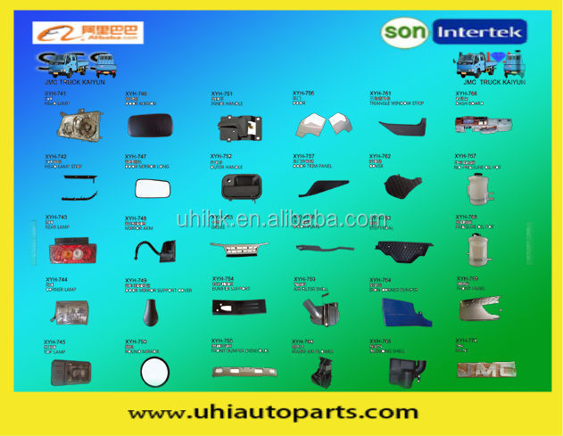 Pickup body parts---lamps door mirror grille bumpers dashboard panel etc for JMC truck Kaiyun