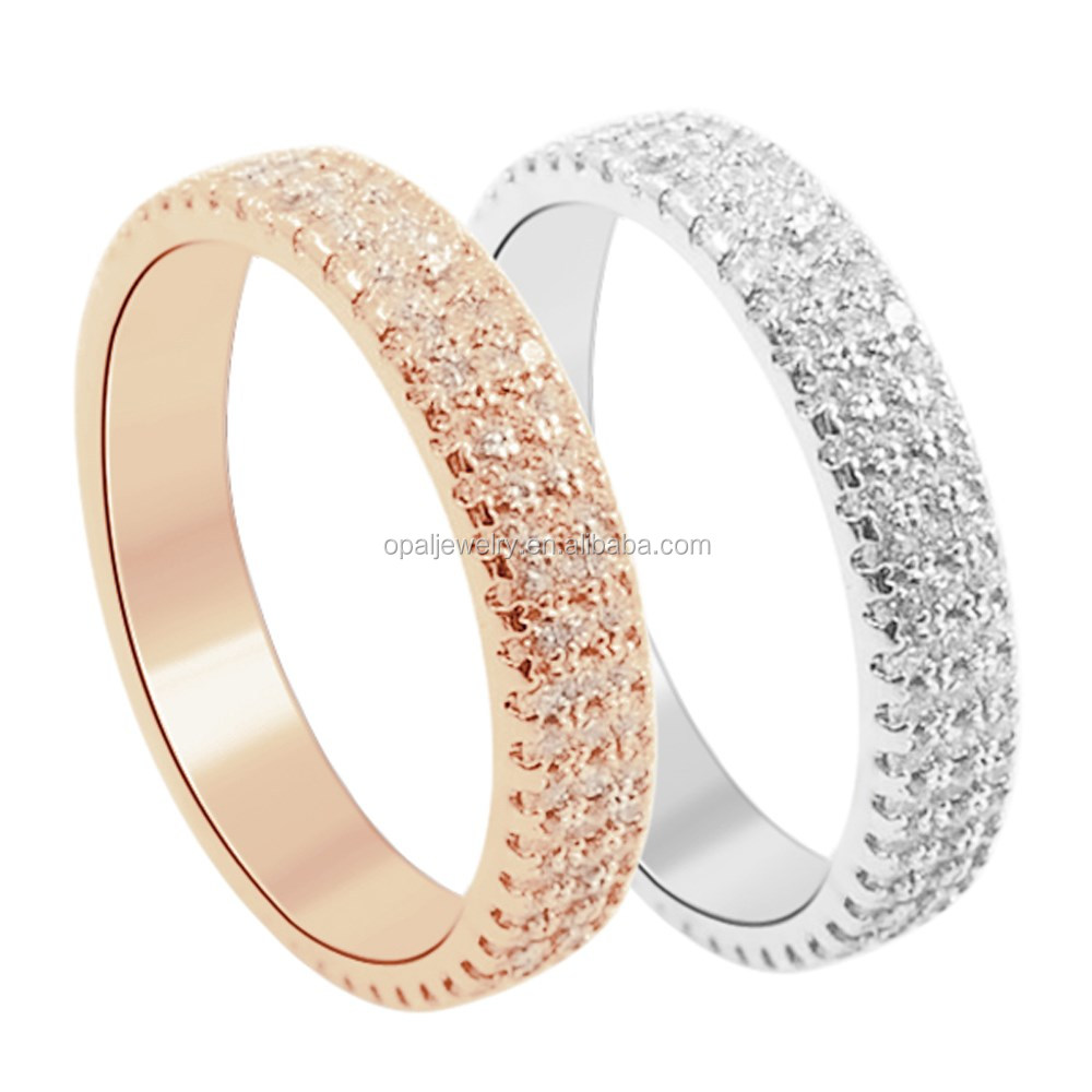 Gorgeous Shiny CZ Craft Setting & 14K ROSE GOLD PLATED 925 Silver Band Ring # 6-9