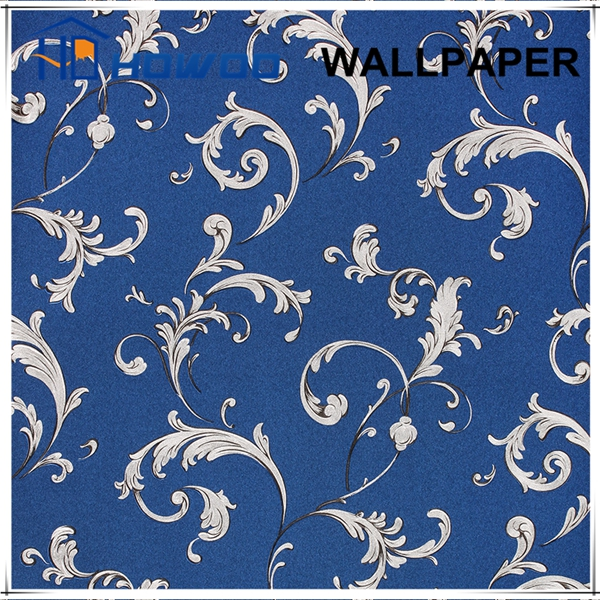 Luxury textured blue silk wallpaper for hotel interior decor