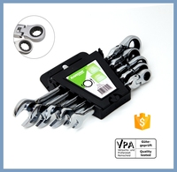 5pcs set steel auto Flexible Head combination tool ratchet wrench set of hardware car repair tools