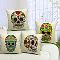 Popular Skull Style Cotton/Linen Cushion Cover